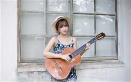 Aperçu fond d'écran Fille asiatique, chapeau, guitare, fenêtre