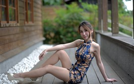 Preview wallpaper Asian girl, skirt, pose, legs