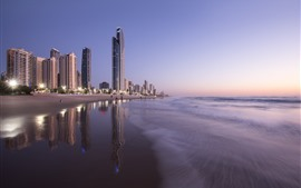 Australia, Queensland, skyscrapers, beach, sea, city, dusk