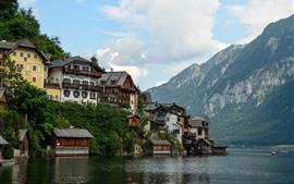 壁紙のプレビュー オーストリア、ハルシュタット、湖、アルプス、住宅、旅行地