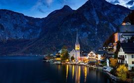 Austria, Hallstatt, lago, casas, montañas, noche, luces