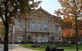 미리보기 배경 화면 바덴 바덴, 독일, 도시, 극장, 나무, 가을