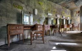 Barbershop, mirror, chair, ruins