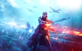 Preview wallpaper Battlefield 5, girl, war, tank, fighter