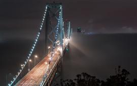 Мост залива, Сан-Франциско, США, ночь, освещение