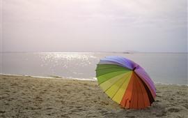 Пляж, море, зонтик, красочный