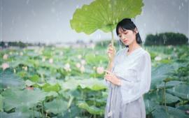 Preview wallpaper Beautiful Chinese girl, retro style, lotus, raining
