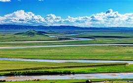 Beautiful Gannan nature landscape, mountains, river, green
