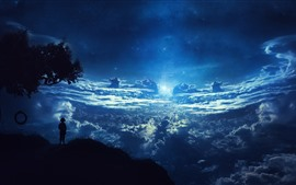 Preview wallpaper Beautiful dream world, clouds, sky, starry, moon, silhouette