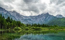 Paisaje de naturaleza hermosa, montañas, árboles, lago, reflejo de agua