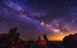 Hermoso estrellado, noche, gente
