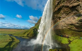 Preview wallpaper Beautiful waterfall in Iceland