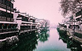 Hermoso invierno, cubierto de nieve, río, casas, linterna, Nanjing, China