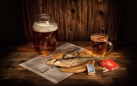 Preview wallpaper Beer, dry fish, cigarette, match