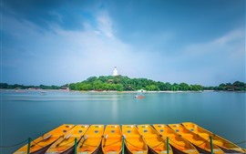 Preview wallpaper Beihai Park, Beijing, lake, boats, China