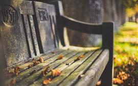 預覽桌布 板凳,葉子,秋天,朦朧