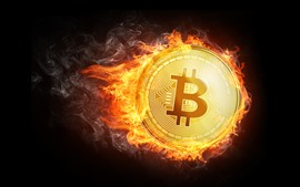 Preview wallpaper Bitcoin, flame, fire, creative