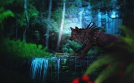 Preview wallpaper Black wolf, waterfall, fantasy art