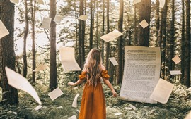 Preview wallpaper Blonde girl, magic, paper flying, forest, creative picture