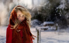 Preview wallpaper Blonde little girl, red coat, winter, snow