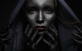 Preview wallpaper Blue eyes girl, darkness, many hands, horror