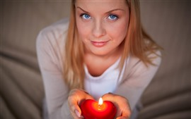 Preview wallpaper Blue eyes girl, hands, love heart candle, flame