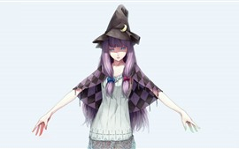Preview wallpaper Blue eyes girl, purple hair, witch, anime
