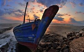 Barco, rochas, mar, pôr do sol