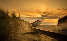 Preview wallpaper Boat, sands, beach, sea, sunset