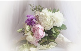 Bouquet, colorful flowers, white, pink, purple