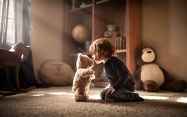 Preview wallpaper Boy and toy bear, friends