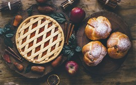 Bread, pie, apple, food