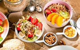 Breakfast, fruit, muesli, strawberry, kiwi