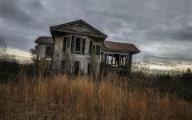 Broken wood house, grass