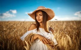 Brown hair girl, hat, wheat field, summer