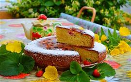 Aperçu fond d'écran Gâteau, sucre en poudre, fleurs jaunes