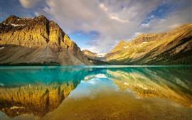 壁紙のプレビュー カナダ、アルバータ州、バンフ国立公園、山、ボウ湖、水の反射