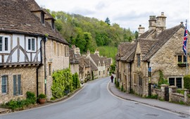 Preview wallpaper Castle Combe Village, England, houses, road