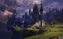 Castelo, nuvens, crepúsculo, colinas