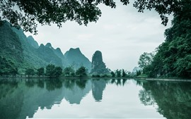 China, beautiful nature landscape, lake, mountains, trees