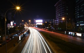 Preview wallpaper China, city night, road, light lines, cars
