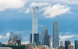 China, ciudad, rascacielos, cielo azul, nubes