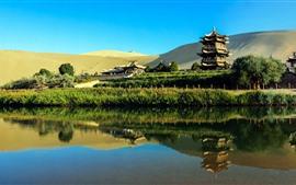 Vorschau des Hintergrundbilder China, Touristenattraktionen, Park, Pagoden, See, Wüste