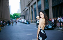 Chinese girl, back view, street, city
