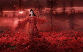 Preview wallpaper Chinese girl, retro style, red dress, red flowers