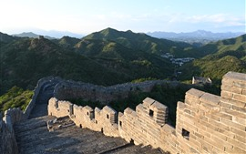 Preview wallpaper Chinese travel place, Great Wall, steps, ruins, mountains