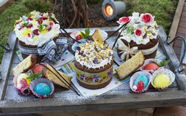 Preview wallpaper Chocolate cakes, colorful eggs, Easter