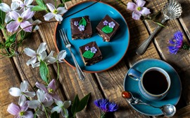 Aperçu fond d'écran Gâteaux au chocolat, dessert, fleurs, café