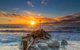 Christchurch, England, stones, sea, sunrise, morning