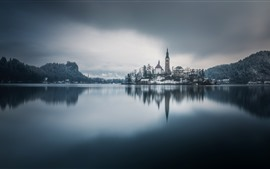 Preview wallpaper Church, Bled, Slovenia, lake, trees, snow, winter